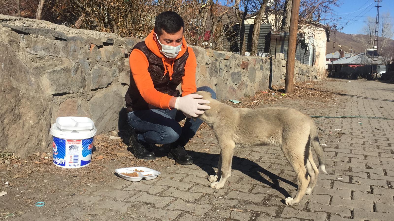 Hafta Sonu Kısıtlamasında Sokak Hayvanlarını Besledi